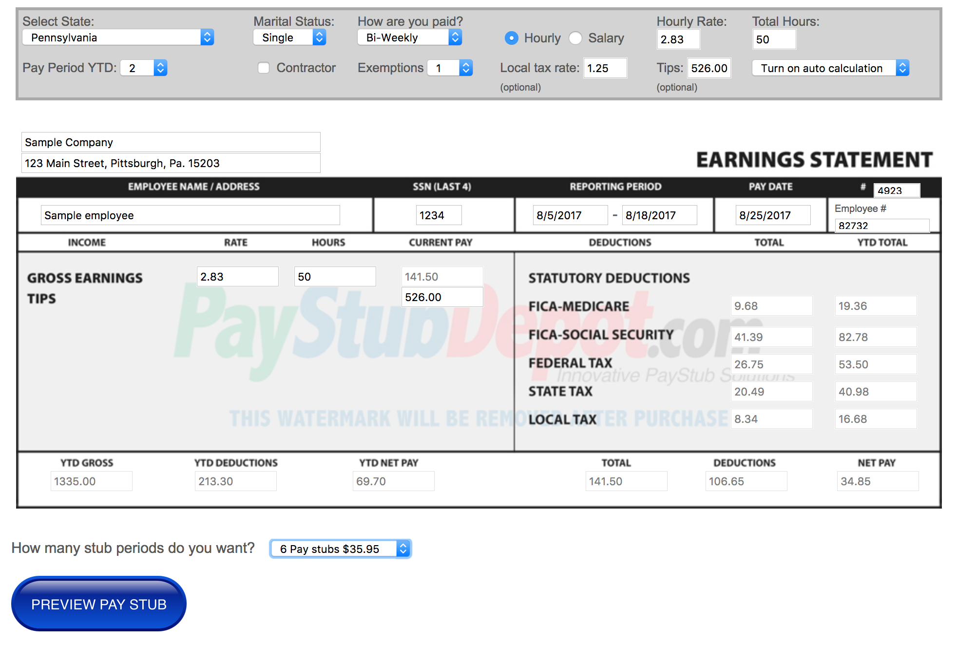 online pay stub maker